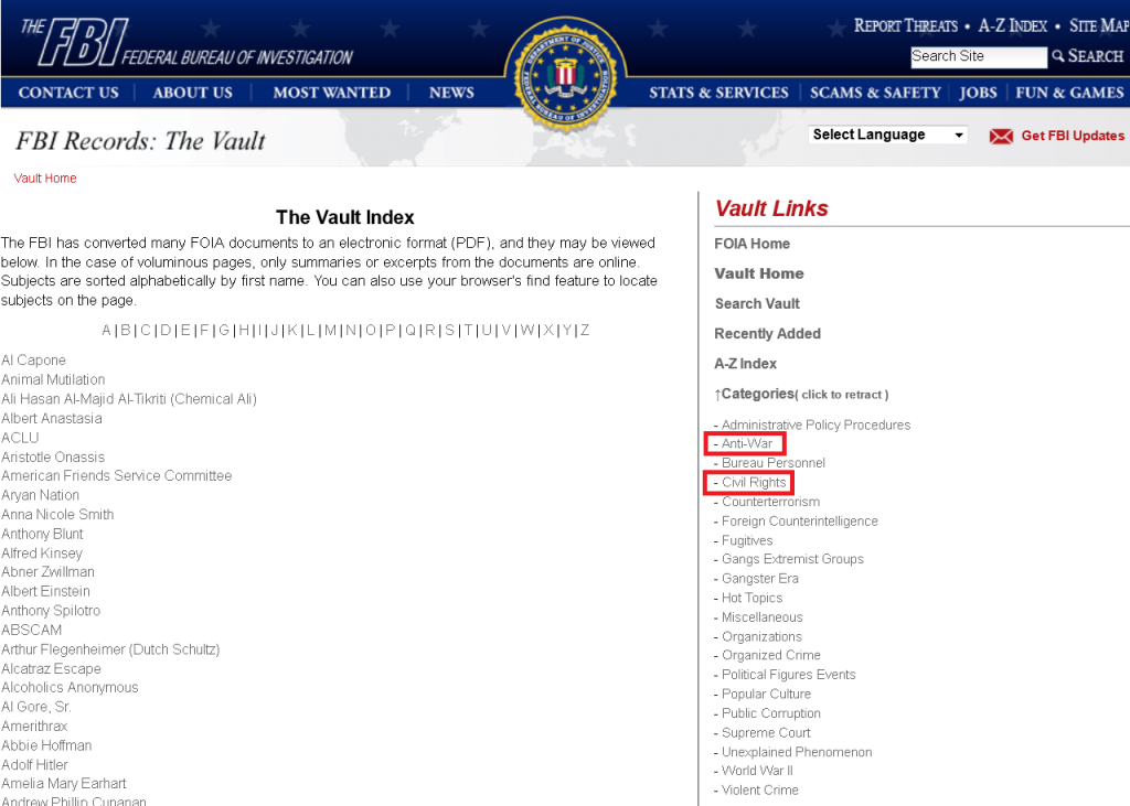 Screenshot of FBI vault index