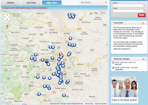 A screen grab from RE/MAX Israel's website shows a map of some of the settlement houses it markets.