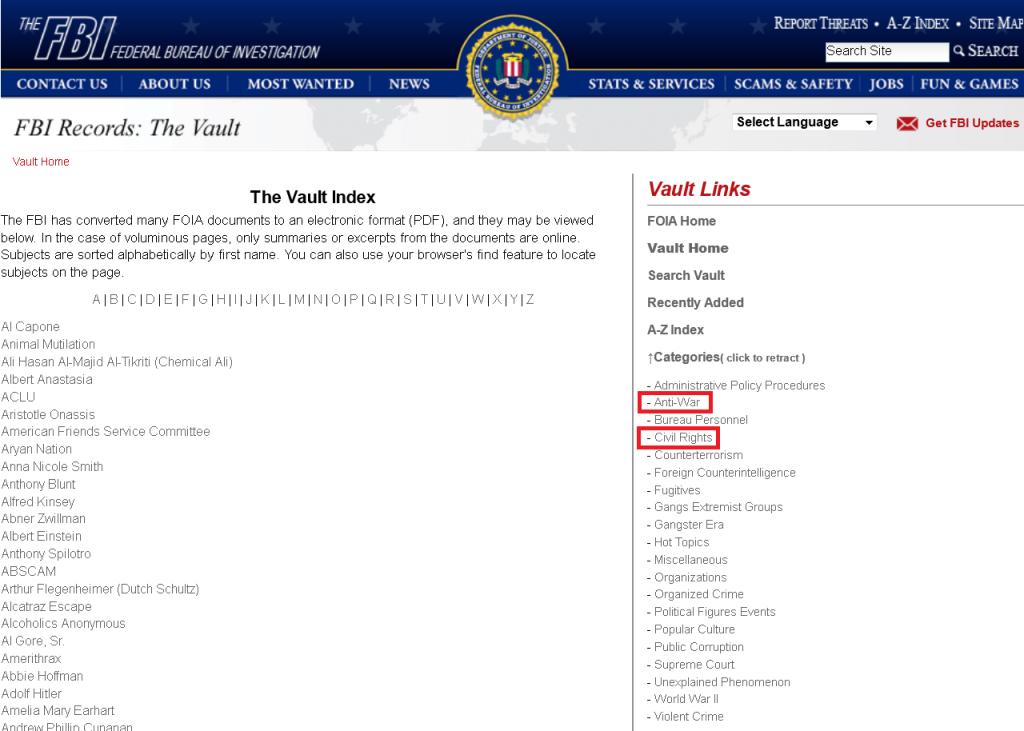 Screenshot of FBI vault index