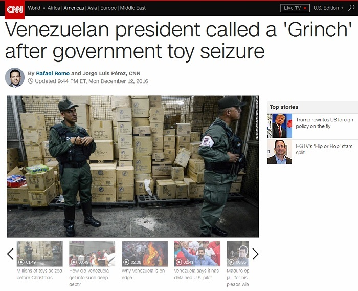 """CNN quotes """"Venezuelan"""" who's not Venezuelan to smear government as """"Grinch"""" for expropriating toys for poor kids"""