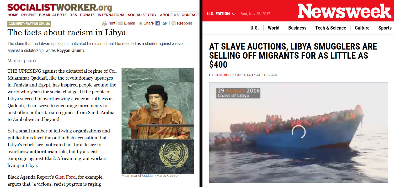 Remember when the ISO denied Libyan rebels' racism? They now have open slave markets for African refugees