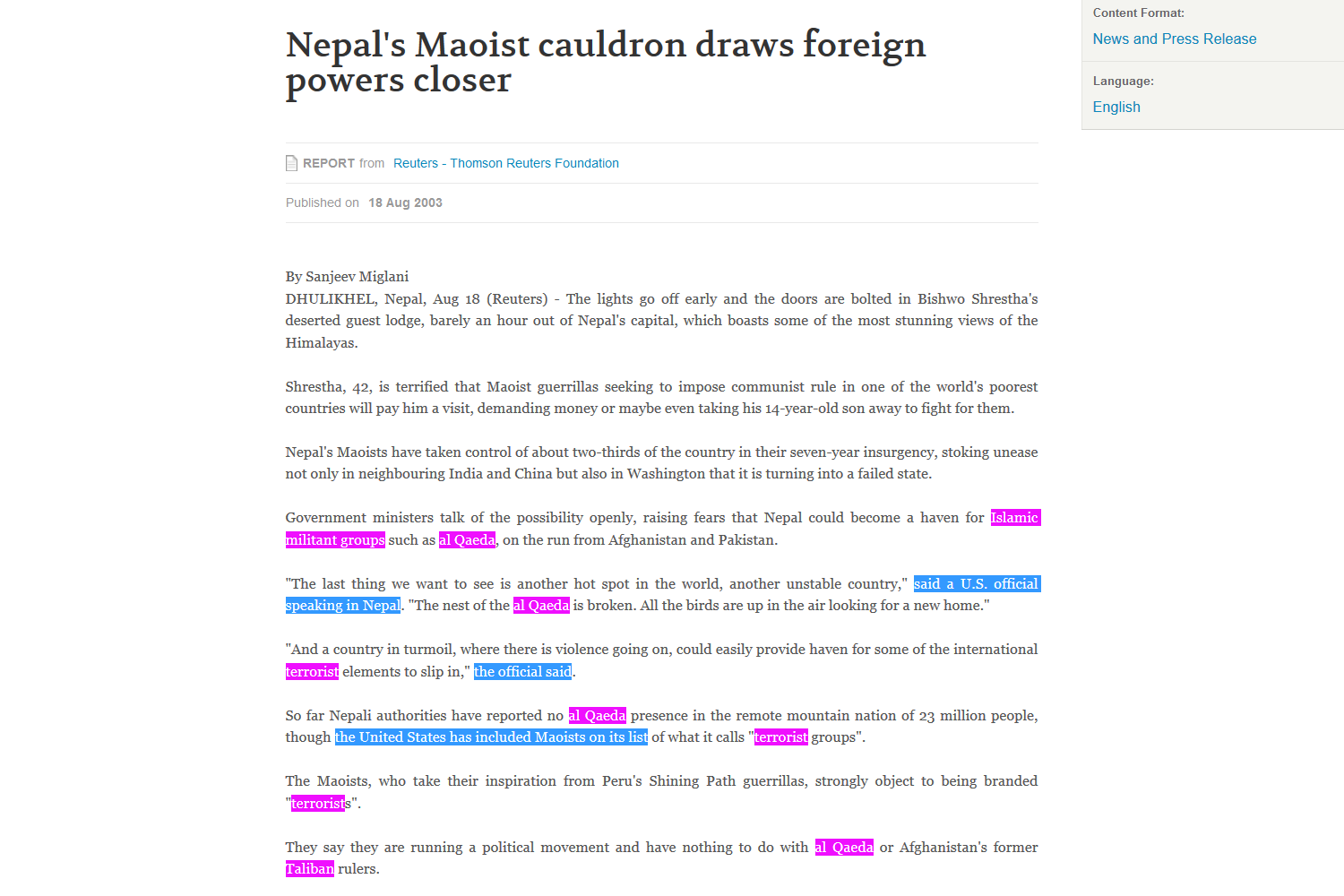 Reuters Coverage Of Nepal S Maoist Armed Struggle Reflects How
